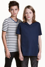T-shirt scollo a V, 2 pz - Blu scuro -  | H&M IT 1