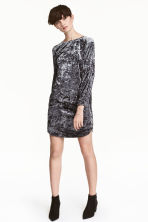Crushed velvet dress - Dark grey - Ladies | H&M CN 1