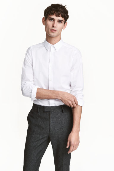 Stretchoverhemd - Slim fit - Wit - HEREN | H&M NL