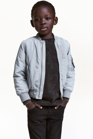 Padded bomber jacket - Grey - Kids | H&M CN 1