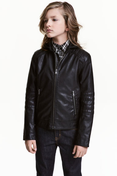 Hooded biker jacket - Black -  | H&M 1
