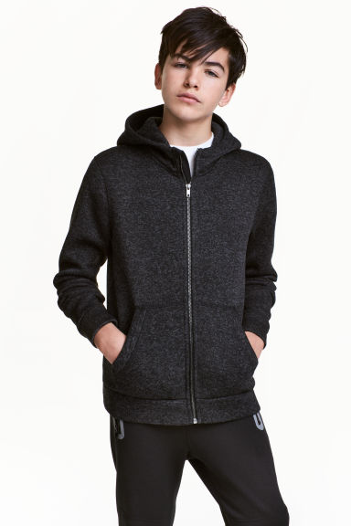 Knitted fleece jacket - Dark grey marl - Kids | H&M 1