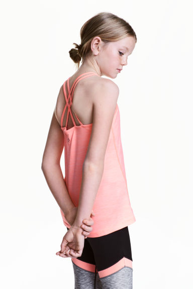 Sports top - Light neon pink marl - Kids | H&M 1
