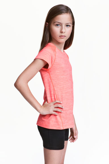 Short-sleeved sports top - Neon pink marl - Kids | H&M