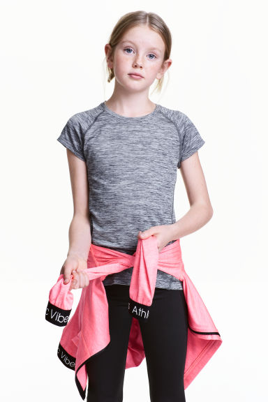 Short-sleeved sports top - Dark grey marl - Kids | H&M