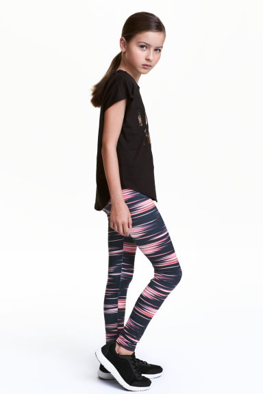 Sports tights - Black/Neon pink - Kids | H&M CN 1