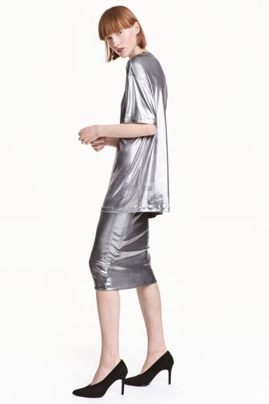 Shimmering pencil skirt - Silver - Ladies | H&M CN 1