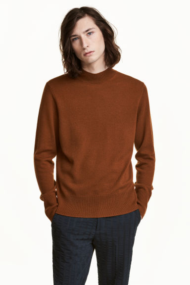 Cashmere-blend jumper - Dark camel - Men | H&M CN 1