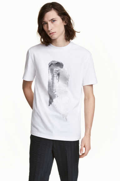 T-shirt with a motif - White/Silver - Men | H&M CN