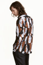 Patterned cotton shirt - Dark blue/Silver - Men | H&M CN 1