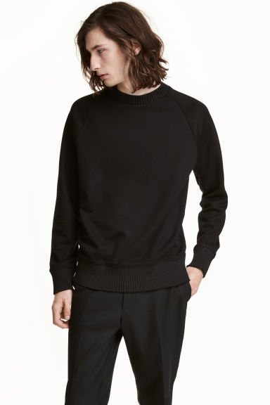 Lyocell-blend sweatshirt - Black - Men | H&M CN 1