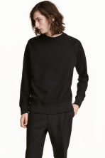Lyocell-blend sweatshirt - Black - Men | H&M 1