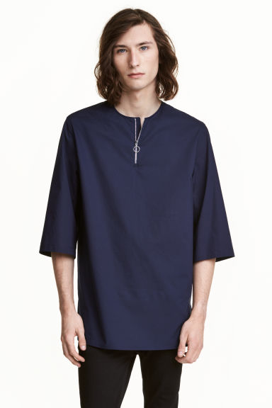 Long T-shirt with a zip - Dark blue - Men | H&M CN 1
