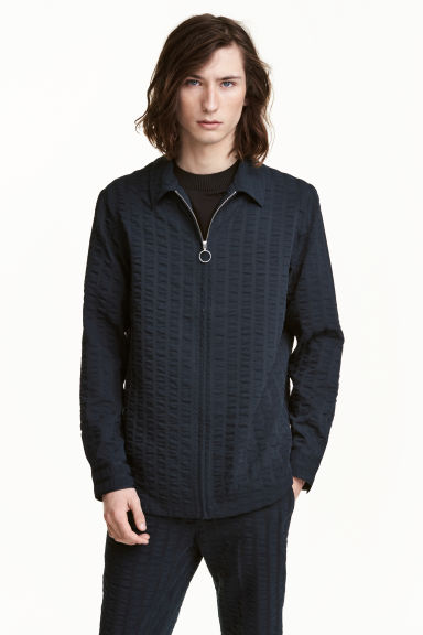Stripe-weave shirt jacket - Dark blue - Men | H&M CN 1