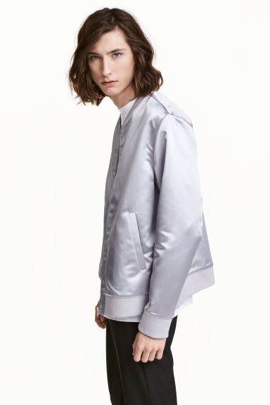 Satin bomber jacket - Light grey - Men | H&M