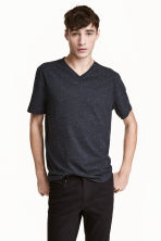 Nepped V-neck T-shirt - Dark blue marl -  | H&M 1