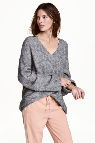 Knitted jumper - Grey marl - Ladies | H&M GB 1