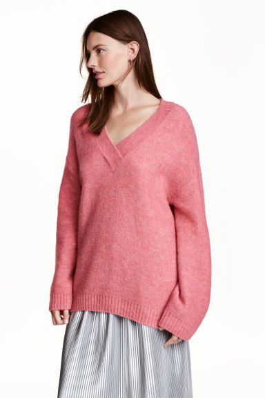 Knitted jumper - Pink marl - Ladies | H&M GB 1