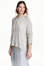 Knitted hooded jumper - Light grey marl - Ladies | H&M GB 1