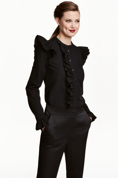 Frilled cotton blouse - Black - Ladies | H&M CN 1