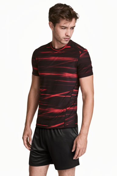 Short-sleeved sports top - Burgundy/Patterned - Men | H&M 1