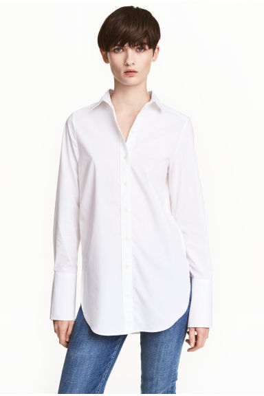 Wide cotton shirt - White -  | H&M 1