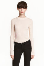 Rib-knit jumper - Light beige - Ladies | H&M CN 1
