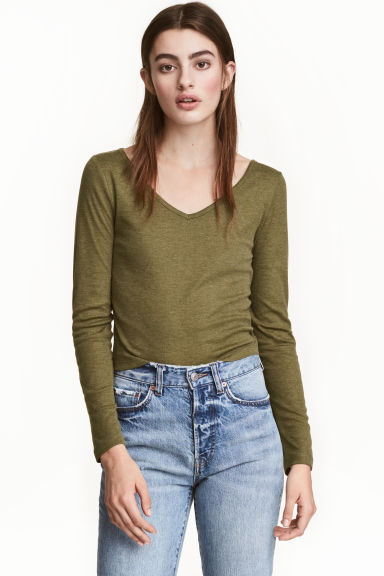 V-neck jersey top - Olive green - Ladies | H&M CN 1