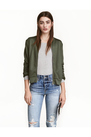 Sweatshirt jacket - Khaki green - Ladies | H&M CN 1