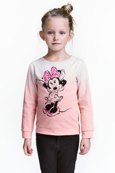 Printed sweatshirt - Light pink/Minnie Mouse -  | H&M CN 1