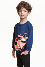 Long-sleeved T-shirt - Dark blue/Car -  | H&M 1
