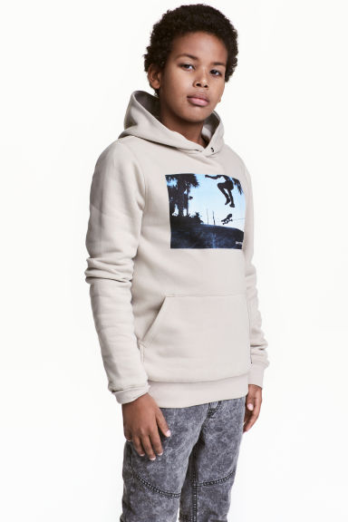 Hooded top - Light beige/Skateboard - Kids | H&M CN 1