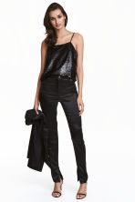 Satin trousers - Black - Ladies | H&M CN 1