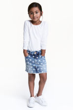 Patterned denim skirt - Denim blue/Star - Kids | H&M 1
