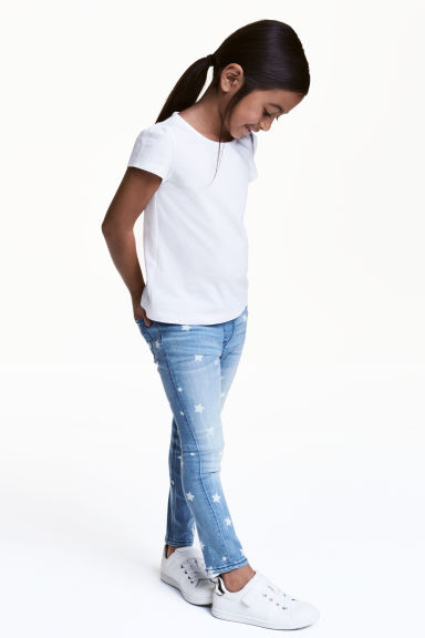 Superstretch denim leggings - Light denim blue/Stars - Kids | H&M 1