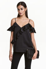 Frilled strappy top - Black - Ladies | H&M CN 1