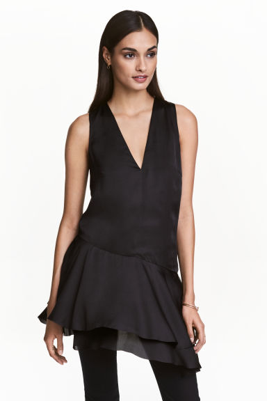 Satin tunic - Black - Ladies | H&M CN 1