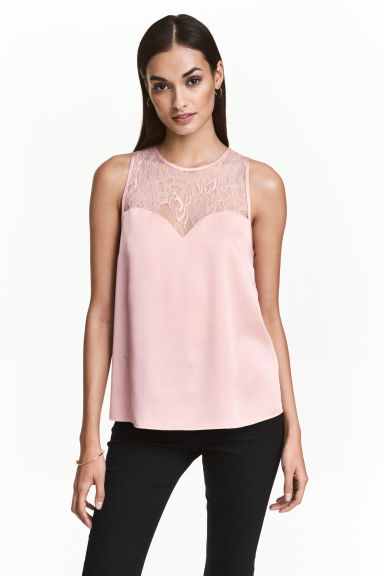 Sleeveless top with lace - Light pink - Ladies | H&M CN 1