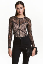 Body in pizzo - Nero/cipria - DONNA | H&M IT 1
