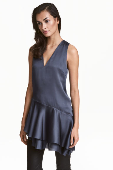 Satin tunic - Dark grey-blue -  | H&M 1