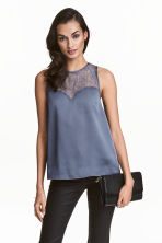Sleeveless top with lace - Dark grey-blue - Ladies | H&M CN 1