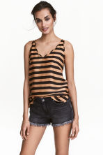 V-neck vest top - Dark beige/Striped - Ladies | H&M CA 1
