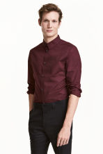 Premium cotton shirt - Burgundy - Men | H&M CN 1