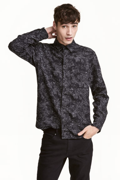 起絨襯衫 - Black/Patterned - Men | H&M 1