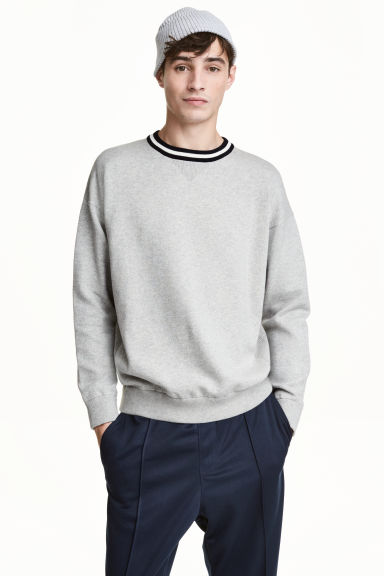 Fine-knit cotton jumper - Light grey marl - Men | H&M