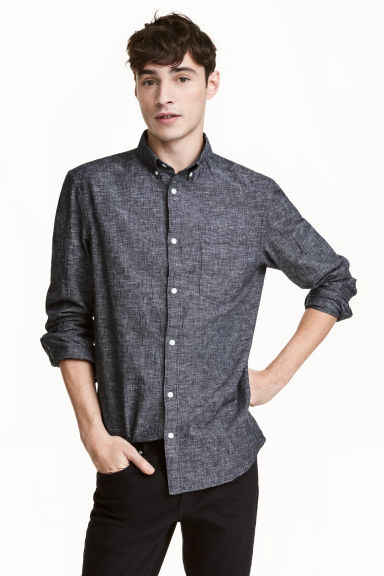 Linen-blend shirt Regular fit - Dark grey marl - Men | H&M 1