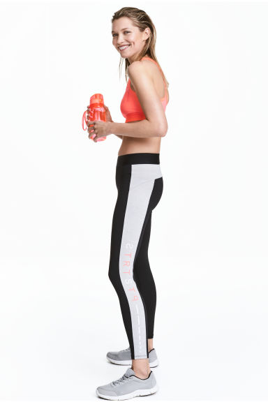 Leggings sportivi color-block - Nero/grigio mélange - DONNA | H&M IT 1