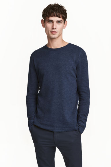Waffled top - Dark blue marl - Men | H&M CN 1