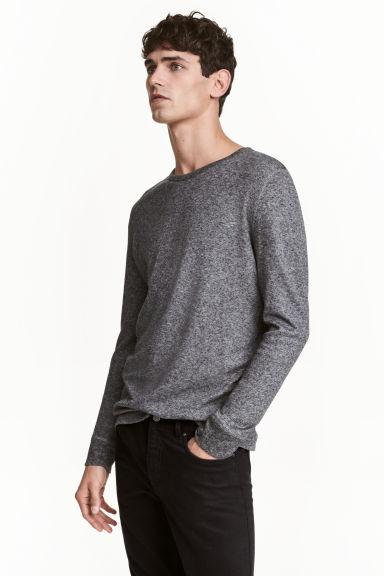 華夫格上衣 - Dark grey marl - Men | H&M