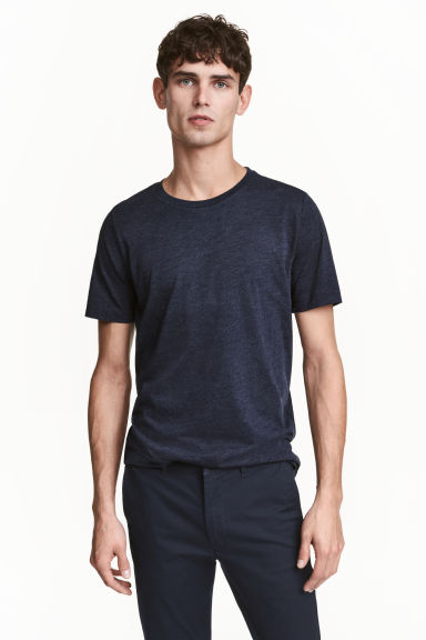 Round-neck T-shirt Regular fit - Dark blue marl - Men | H&M 1